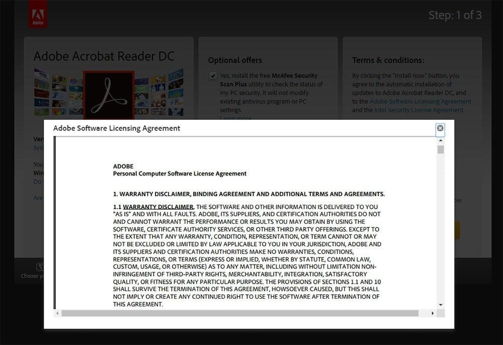 Adobe Acrobat Reader: Window of EULA