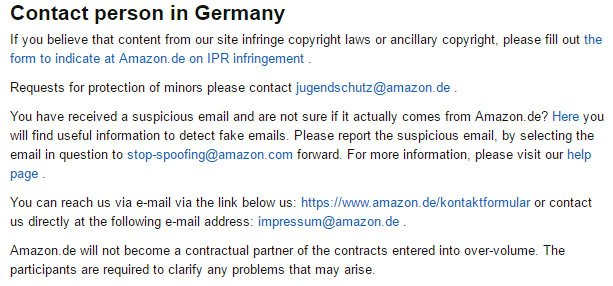 Amazon Germany: Contact person section in Impressum