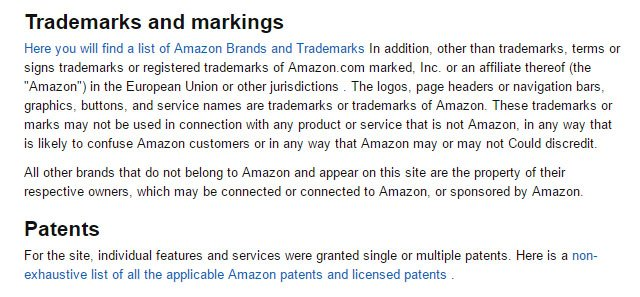Amazon Germany: Trademarks section in Impressum