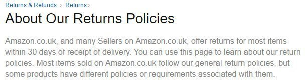 Amazon UK Return and Refund Policy: the 30-days time limit