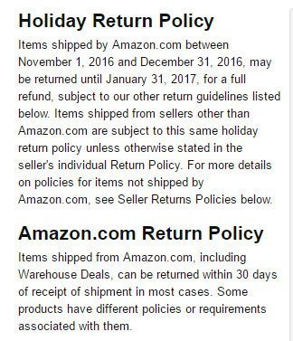 Amazon US Return and Refund Policy: the 30-days time limit