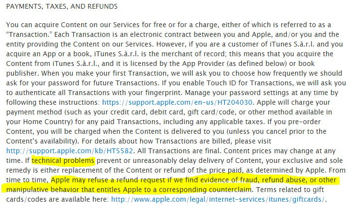 Apple iTunes: Return/Refund Policy: No refund if fraud or abuse