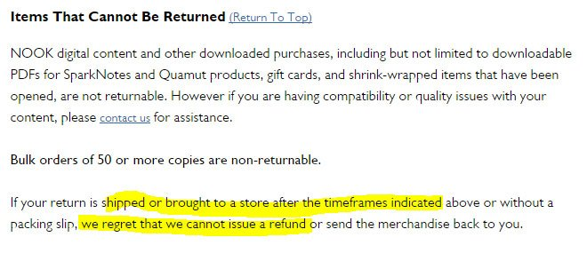 Barnes and Noble: No Return or Refund if time limit passes