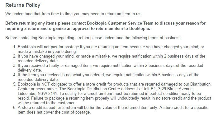 498210d62f6d5 Booktopia Return and Refund Policy  the 2 to 5 business days time limit
