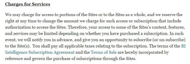 Business Insider UK: Terms of Use and Charges for Services clause