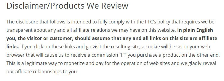 Example of Disclaimer vs. Disclosure for Products: Affiliate links under FTC