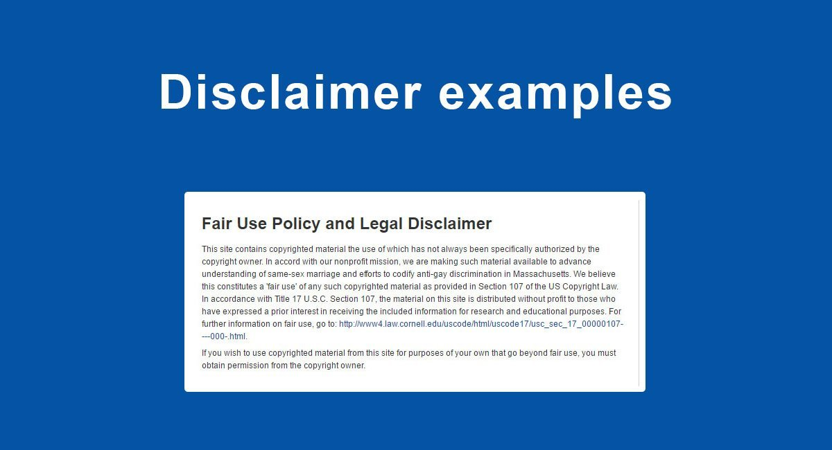Disclaimer examples termsfeed for Property disclaimer template