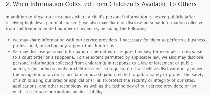 Disney Jr. COPPA Privacy Policy: Information collected from children available to third parties