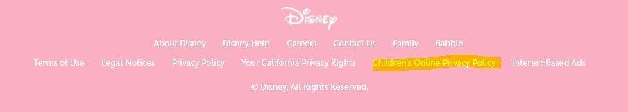 Children Online Privacy Policy link in footer of Disney Jr website