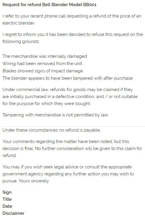 Example of email to decline a refund because it