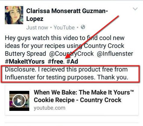 Example of Facebook Post with #ad hashtag and disclosure