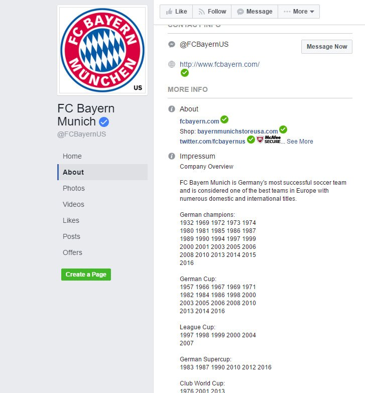 Screenshot of Impressum of FC Bayern Munich on Facebook
