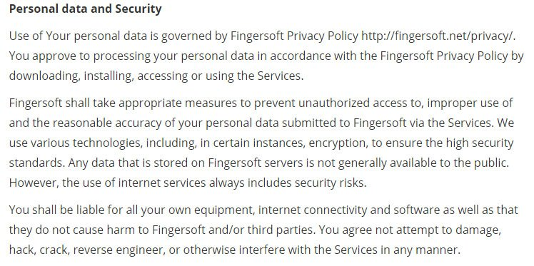 Fingersoft game developer: Privacy clause and summary in Terms & Conditions