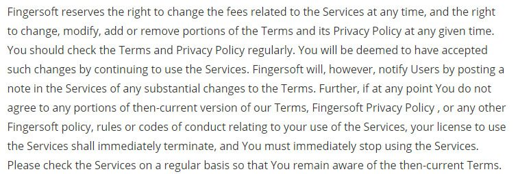 Fingersoft game developer: Updates clause in Terms & Conditions