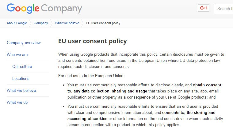 Screenshot of Google EU User Consent Policy