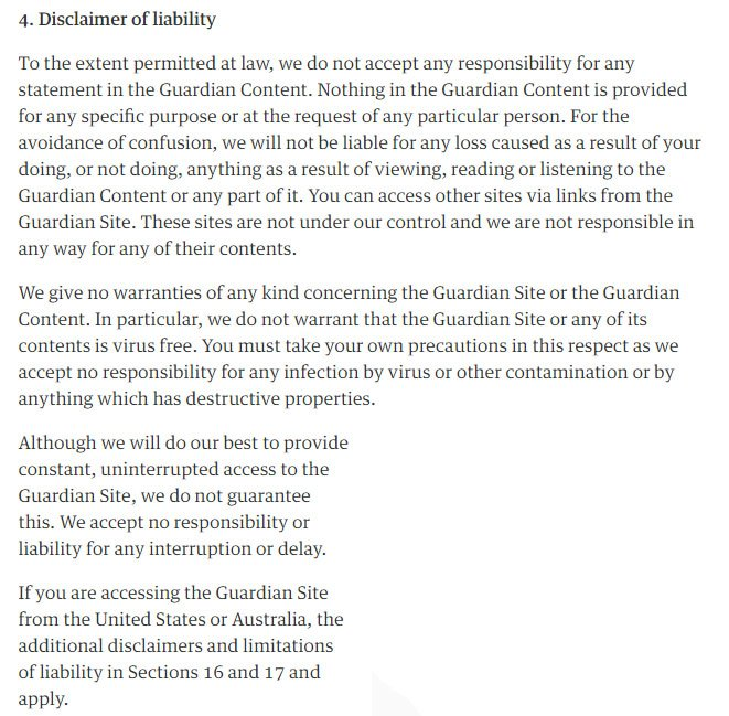 Guardian: Disclaimer of Liability in Terms of Service