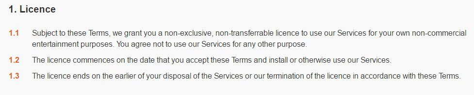 Halfbrick game developer: License clause in Terms of Service