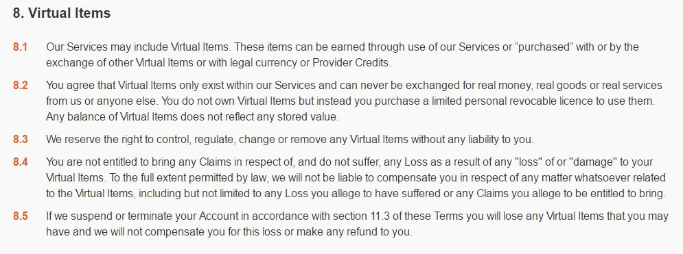 Halfbrick game developer: Virtual Items clause in Terms & Conditions