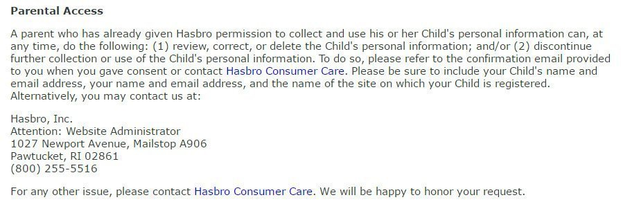 Hasbro COPPA Privacy Policy: Parental Access