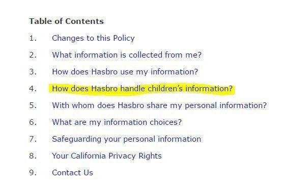 Hasbro coppa-Privacy Policy Table of Contents: Children