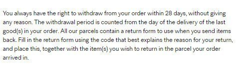 H&M UK Return and Refund Policy: the 28-days time limit