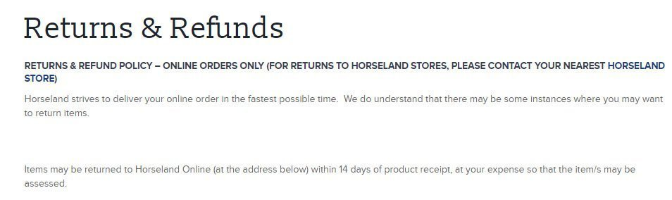 Horseland Australia Return and Refund Policy: the 14-days time limit