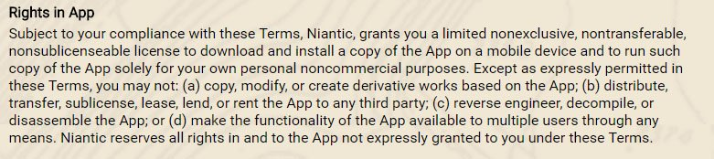 Ingress game: Rights in App clause from Terms & Condition