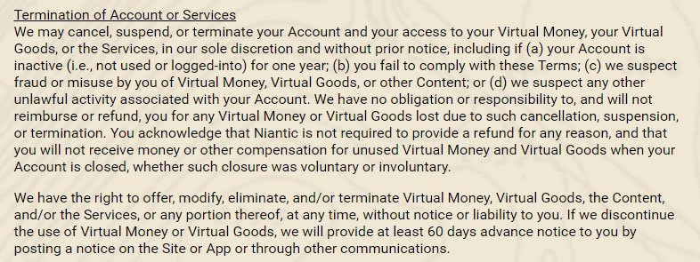 Ingress game: Termination of account clause in Terms & Conditions