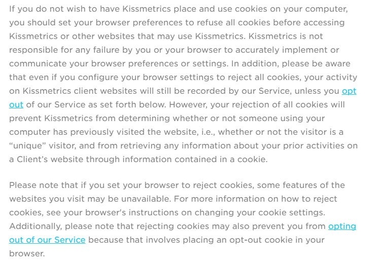 Kissmetrics Privacy Policy: Refuse cookies