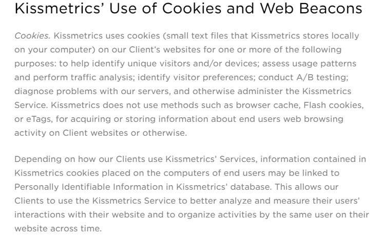 KissMetrics Privacy Policy: Use of Cookies