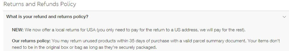 Marks and Spencer Return and Refund Policy: the 35-days time limit