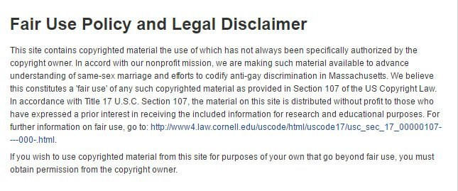 Mass Equality: Fair Use and Legal Disclaimer