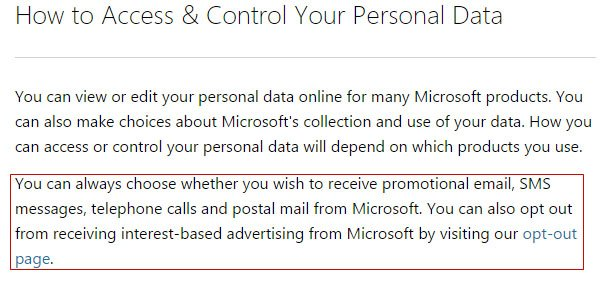 Microsoft Privacy Statement: Email marketing opt-out