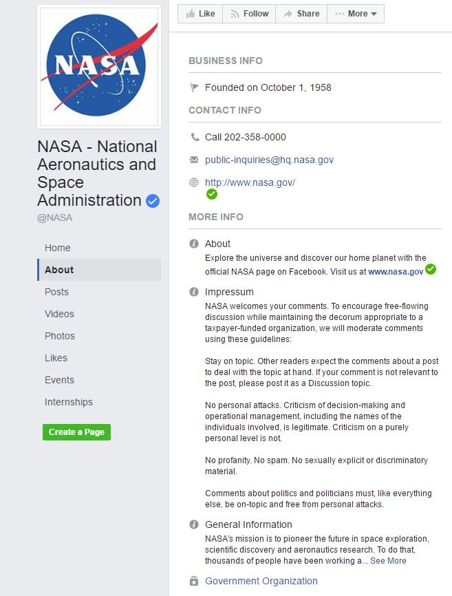NASA Impressum has Rules section on Facebook