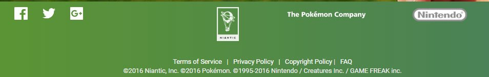 Footer of Niantic Labs of Pokemon