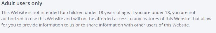 OKCupid Terms & Conditions: Adult Users only