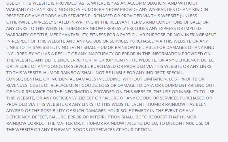 OKCupid: General Warranty Disclaimer in Terms & Conditions