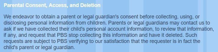 PBS Kids COPPA Privacy Policy: Parental Consent, Access and Deletion