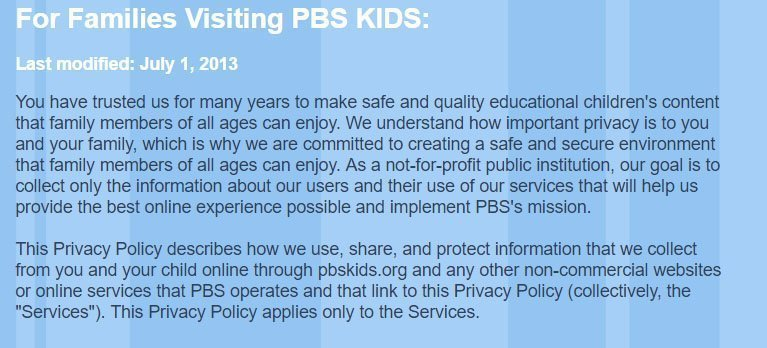 PBS Kids: No COPPA reference in Privacy Policy