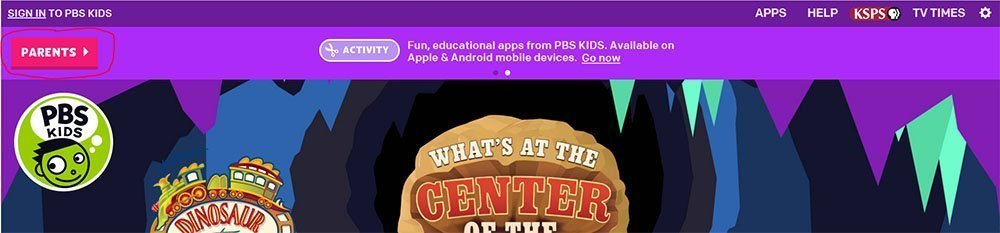 PBS Kids: Button to access Parents page