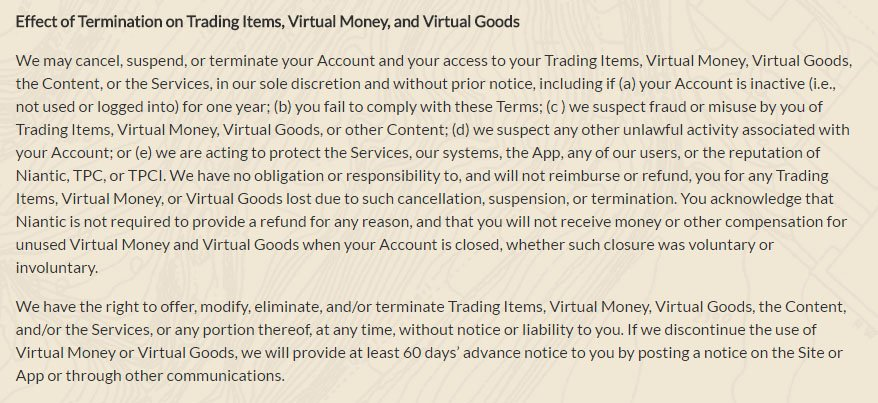 Pokemon GO game: Account termination & Virtual money in Terms & Conditions