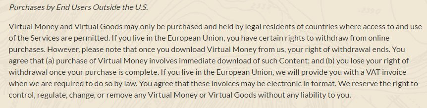 Pokemon GO game: Purchases by users outside US clause in Terms & Conditions