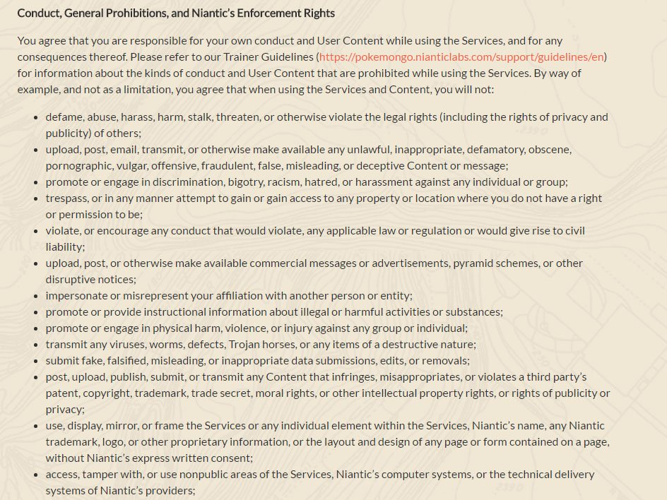 Pokemon GO game: Restrictions clause in Terms & Conditions