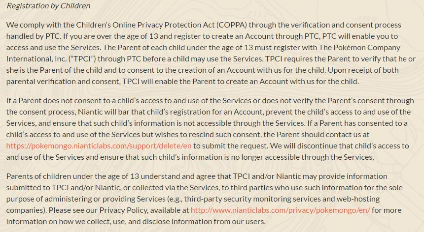 Pokemon GO game: Registration by Children clause in Terms & Conditions