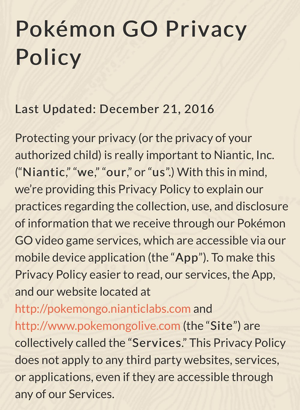 Screenshot from Pokemon GO Privacy Policy
