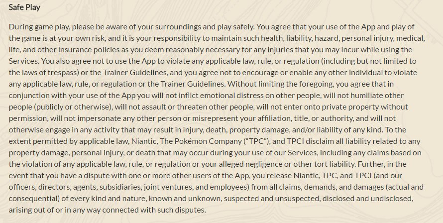 Pokemon GO: Safe Play clause in Terms & Conditions