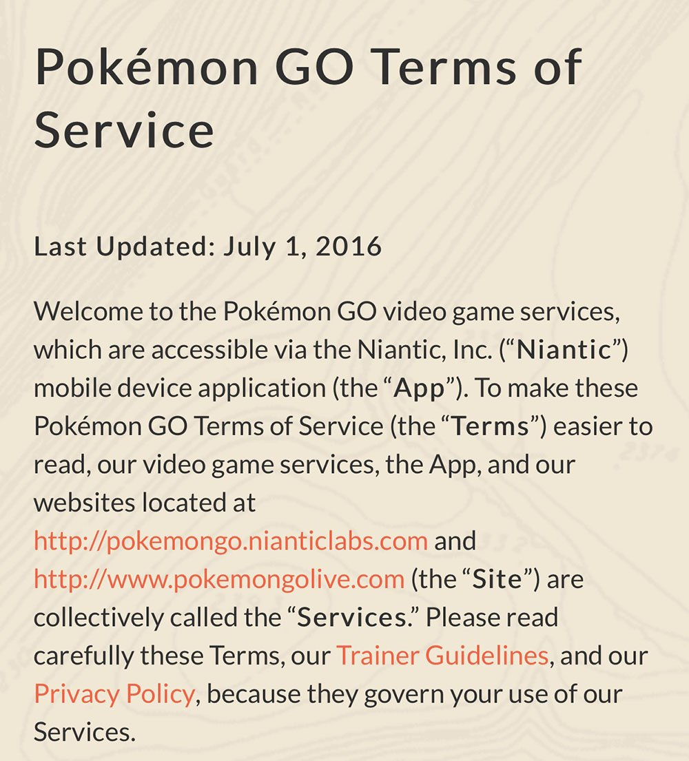 Screenshot from Pokemon GO Terms of Service