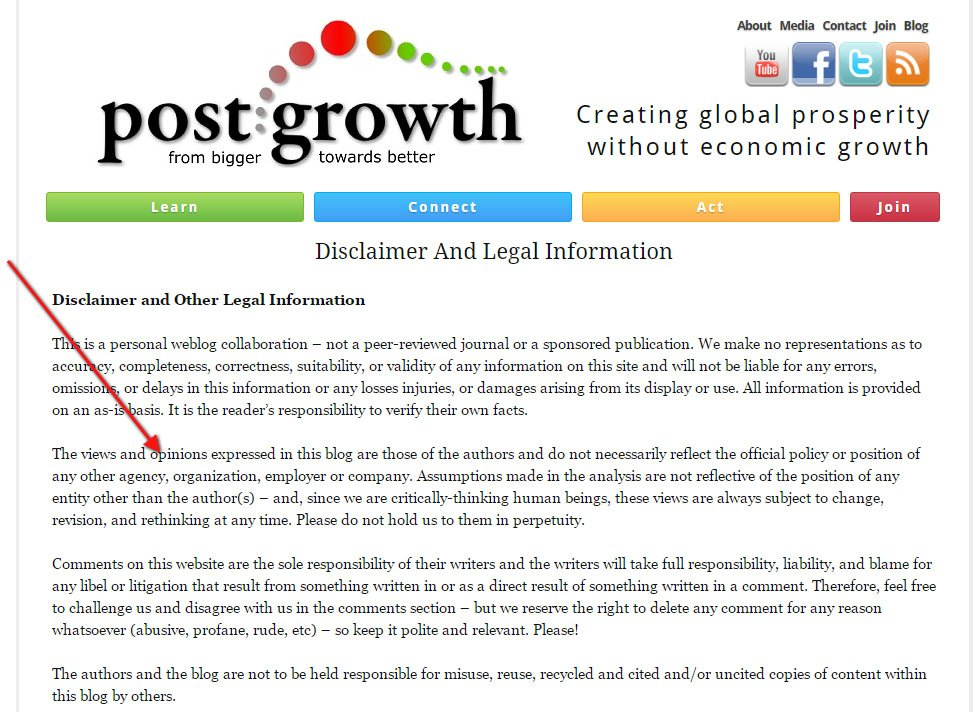 Post Growth: Views expressed disclaimer and Legal Information screenshot