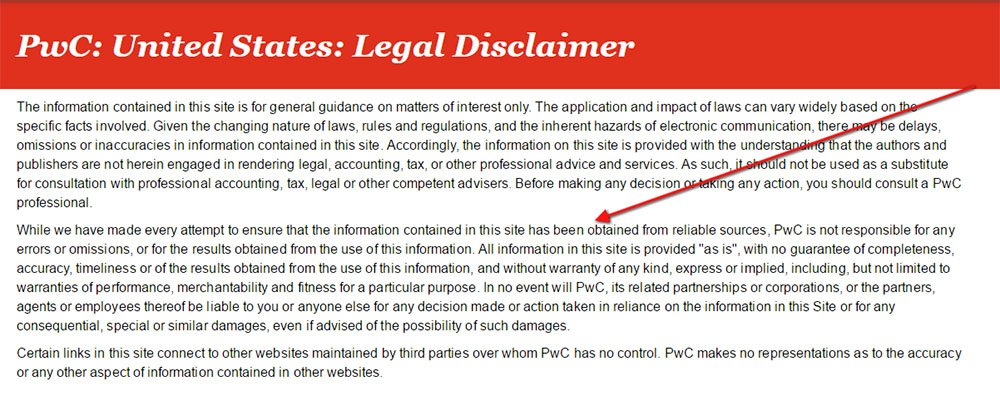 PWC: Errors and omissions disclaimer