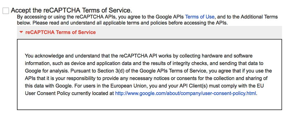 Screenshot of reCAPTCHA Terms of Service
